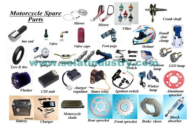 We supply from names like Sprocket,Chain,Battery,Battery Charger,Belt,Flasher,Handle Switch,Filter,Handlebar,Handle grip,Handlebar End,Handlebar Clamp,Helmet,Fashion Lamp,Halogen Lamp,Ignition Switch ,LED Lamp,Brake Shoes,Mirror,Motorcycle Lamps,Tyre,Tyre Valve,Tyre Valve Caps,Shock Absorber,CDI Unit,Charger Regulator,Starting Relay ,Winker Lamp,Foot Pegs,Motorcycle Repair Tools, OEM motorcycle parts.